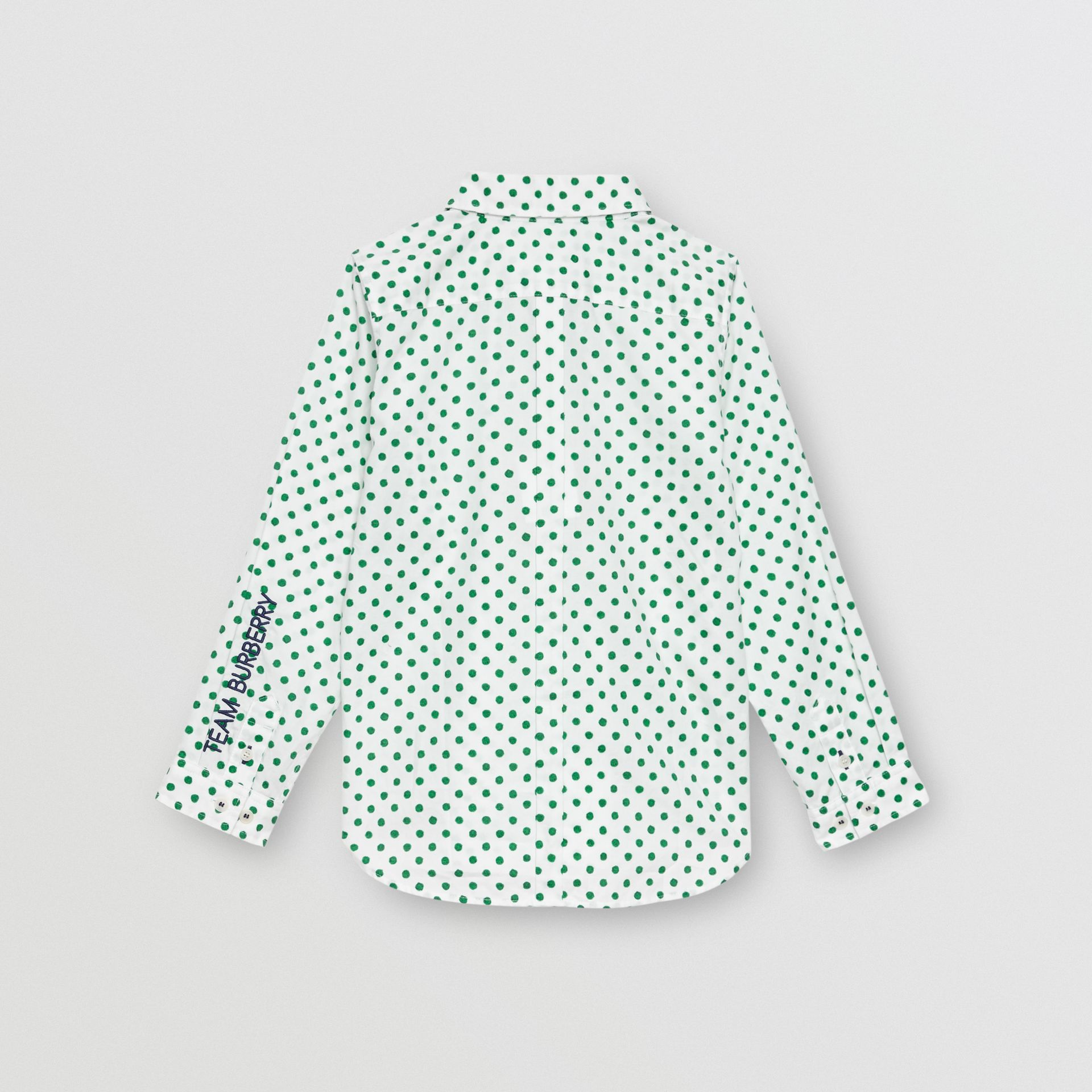 Polka Dot Cotton Oxford Shirt in Emerald Green - Children | Burberry - gallery image 3