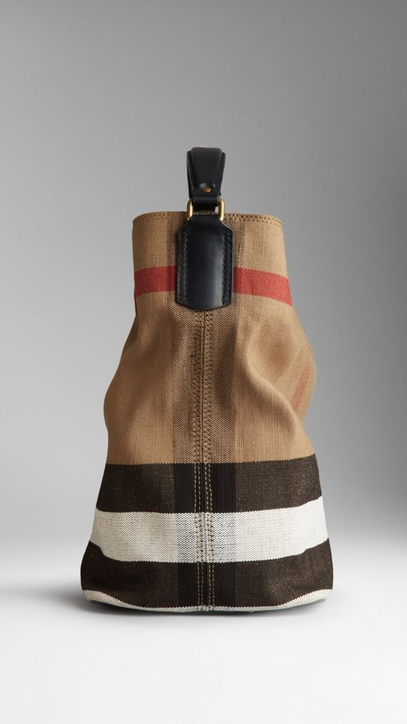 Medium Canvas Check Hobo Bag in Black - Women | Burberry - cell image 2