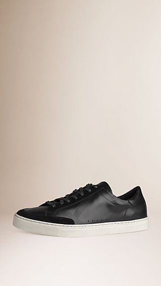Embossed Check Leather Trainers