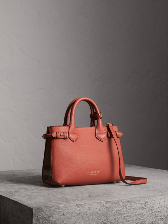 The Small Banner in Leather and House Check in Cinnamon Red - Women | Burberry