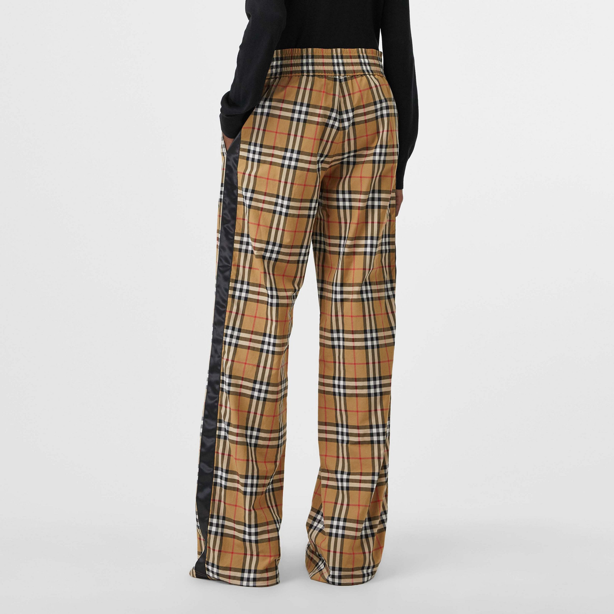 Satin Trim Vintage Check Cotton Trousers in Antique Yellow - Women | Burberry - 3