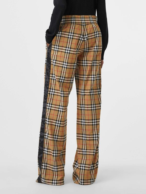 Satin Trim Vintage Check Cotton Trousers in Antique Yellow - Women | Burberry - cell image 2