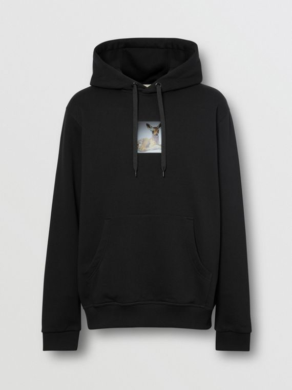 Deer Print Cotton Hoodie in Black