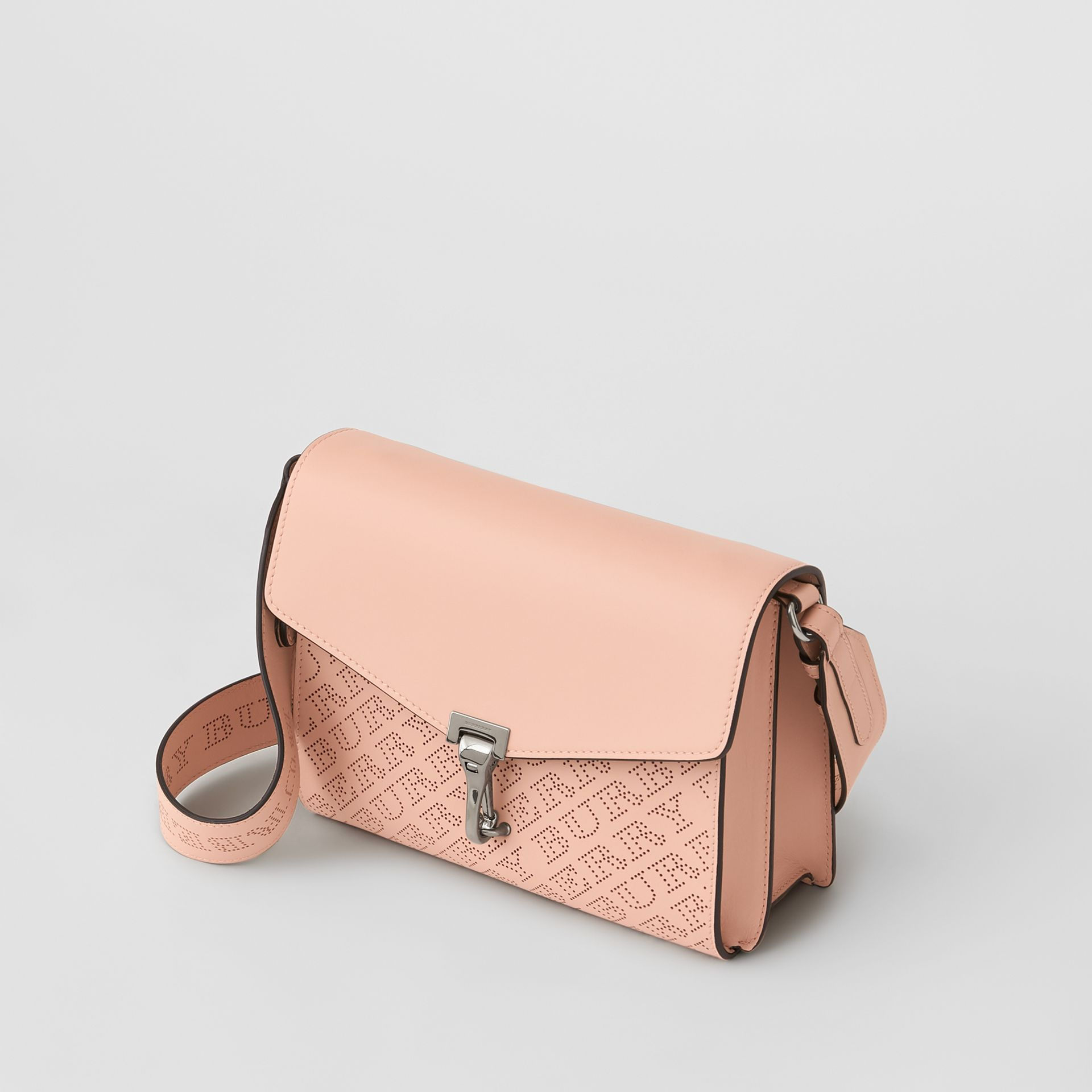 Small Perforated Logo Leather Crossbody Bag in Pale Fawn Pink - Women | Burberry - gallery image 4