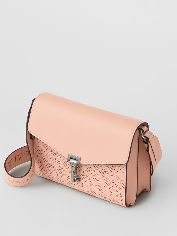 Small Perforated Logo Leather Crossbody Bag in Pale Fawn Pink - Women | Burberry - cell image 2