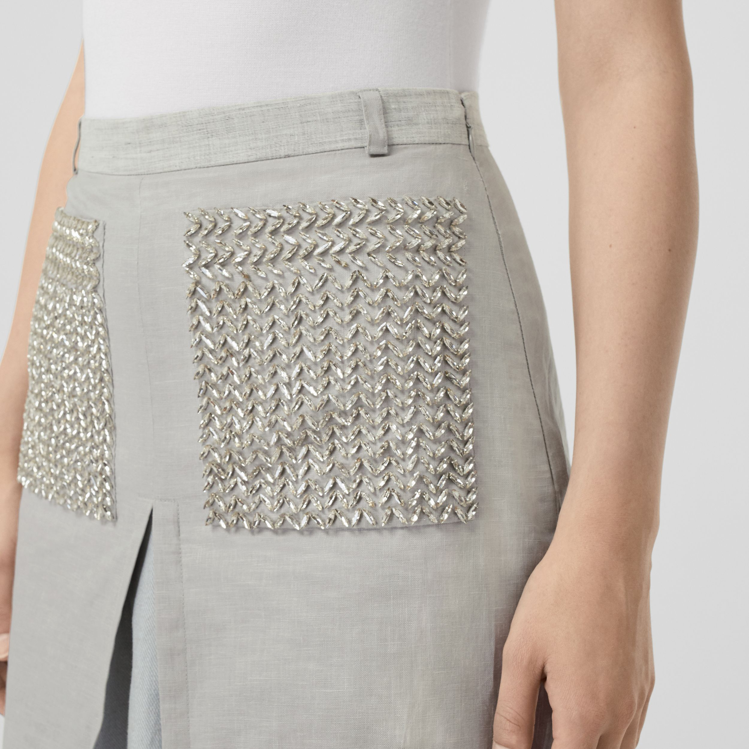 Crystal Embroidered Box-pleat Detail Linen A-line Skirt in Grey Melange - Women | Burberry - 2
