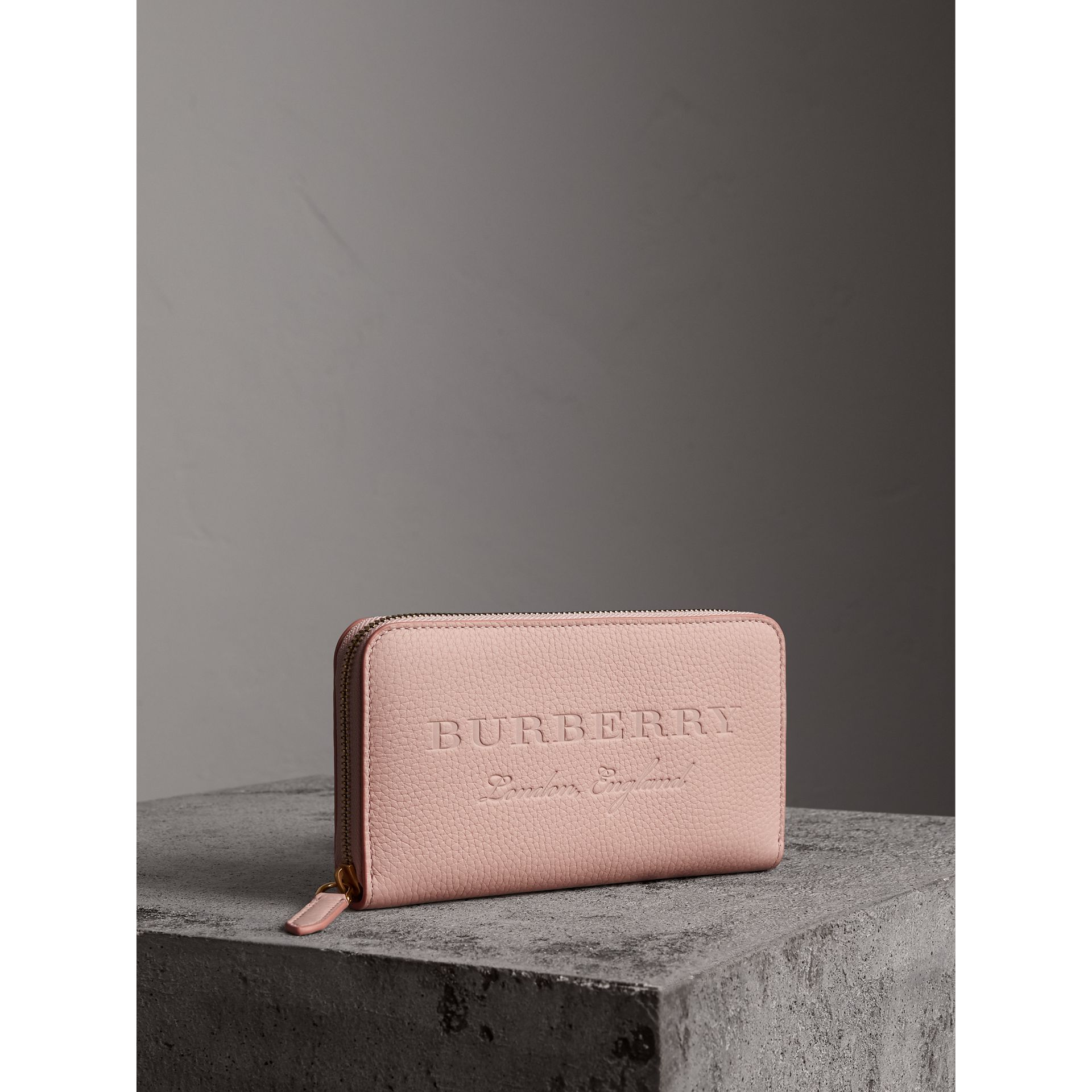 Embossed Leather Ziparound Wallet in Pale Ash Rose - Women | Burberry - gallery image 0