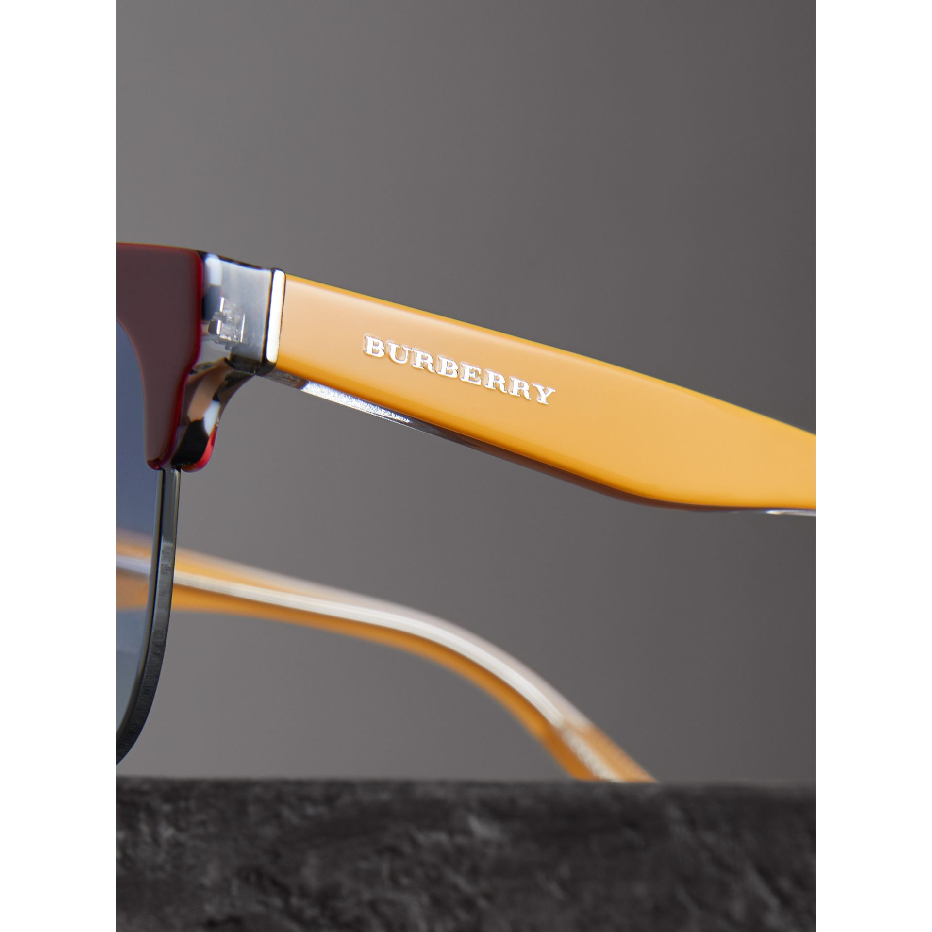 Check Detail D-frame Sunglasses in Burgundy - Men | Burberry Singapore - gallery image 1