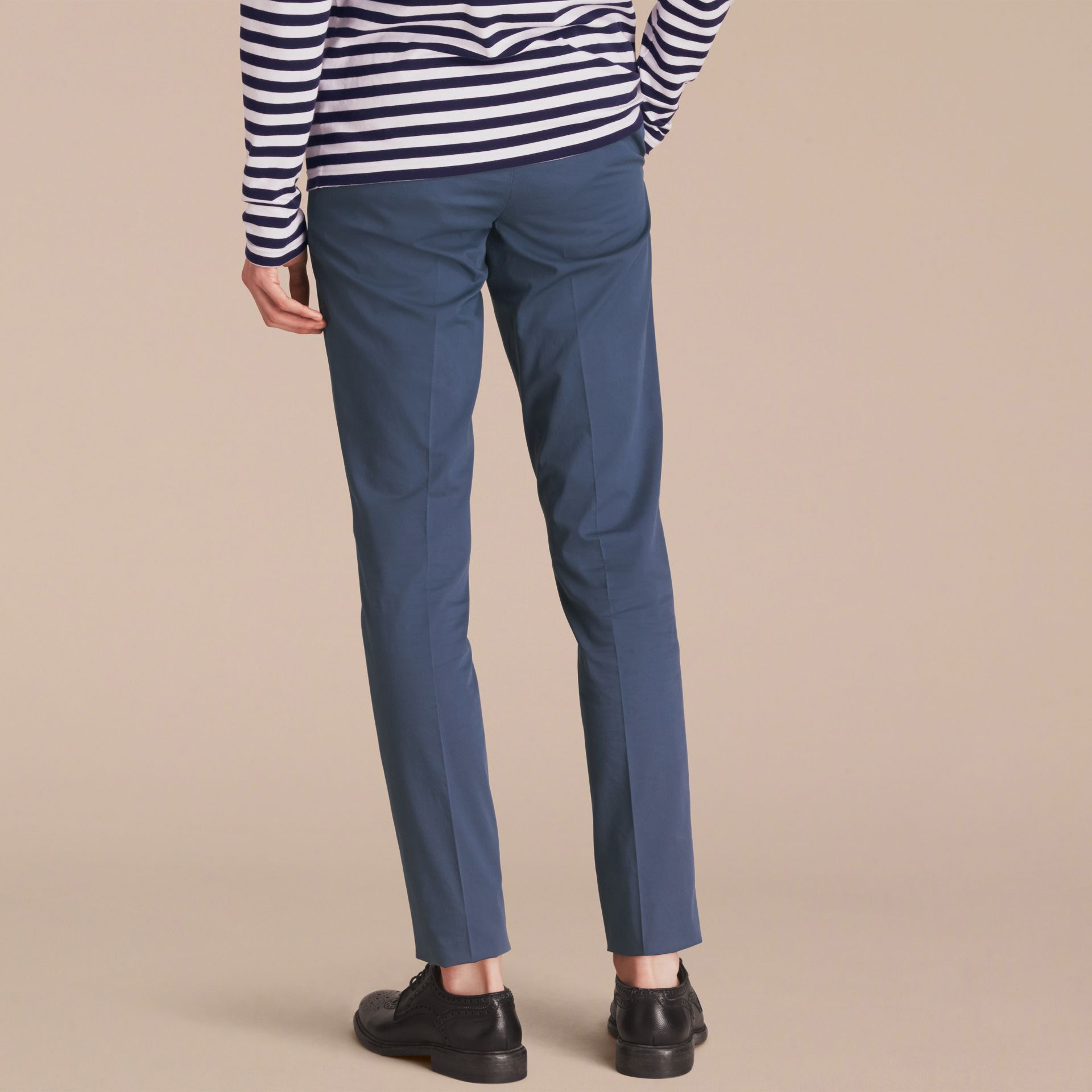 Slim Fit Stretch-Cotton Trousers - gallery image 3