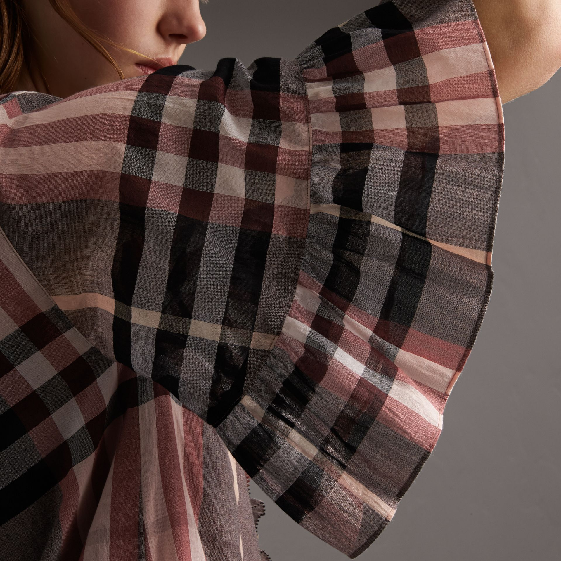 Ruffled Placket Check Cotton Dress - gallery image 3