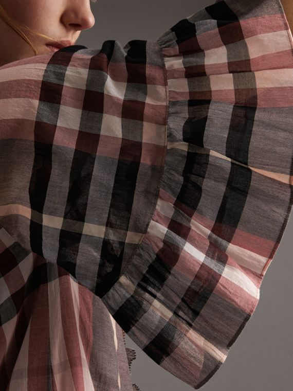 Ruffled Placket Check Cotton Dress - cell image 2