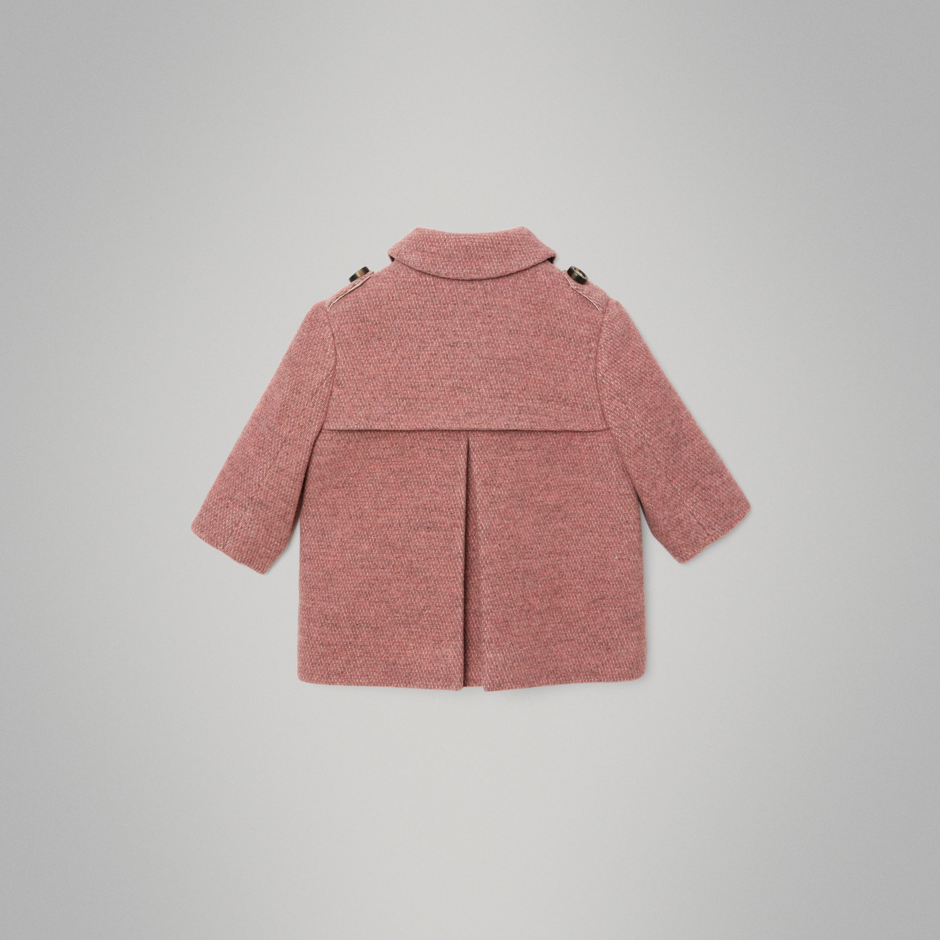 Wool Blend Pea Coat in Rose Pink Melange - Children | Burberry Canada - gallery image 3