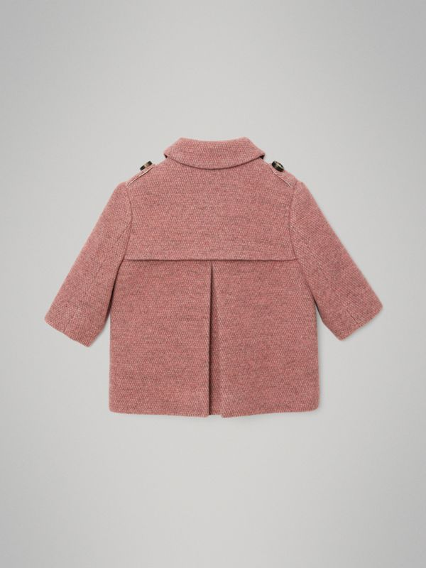 Wool Blend Pea Coat in Rose Pink Melange - Children | Burberry United States - cell image 3