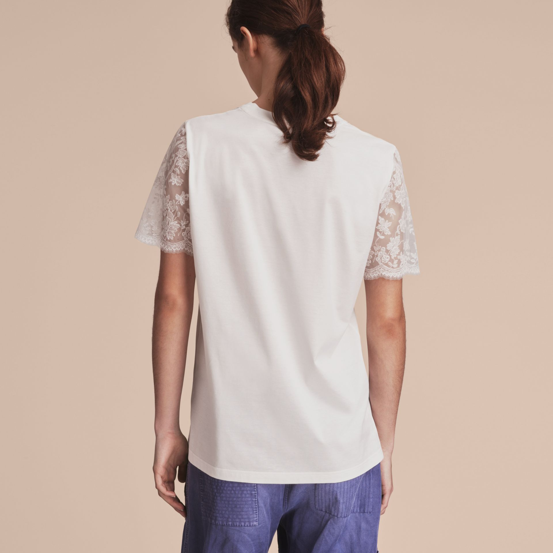 Tulle-sleeve Cotton T-Shirt - Women | Burberry - gallery image 3