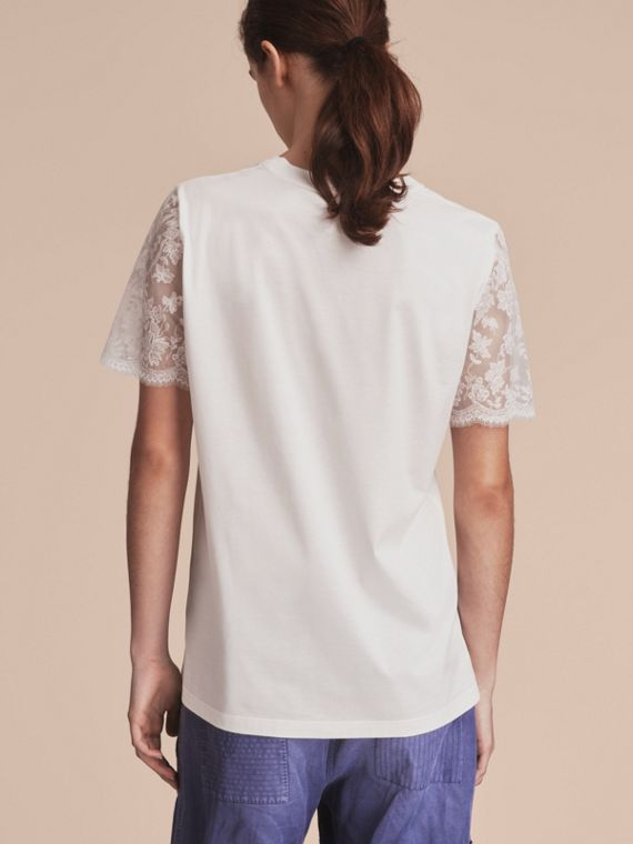 Tulle-sleeve Cotton T-Shirt - Women | Burberry - cell image 2