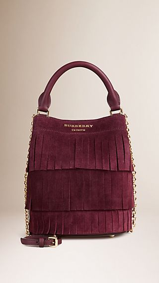 The Small Bucket Bag in Tiered Suede Fringing