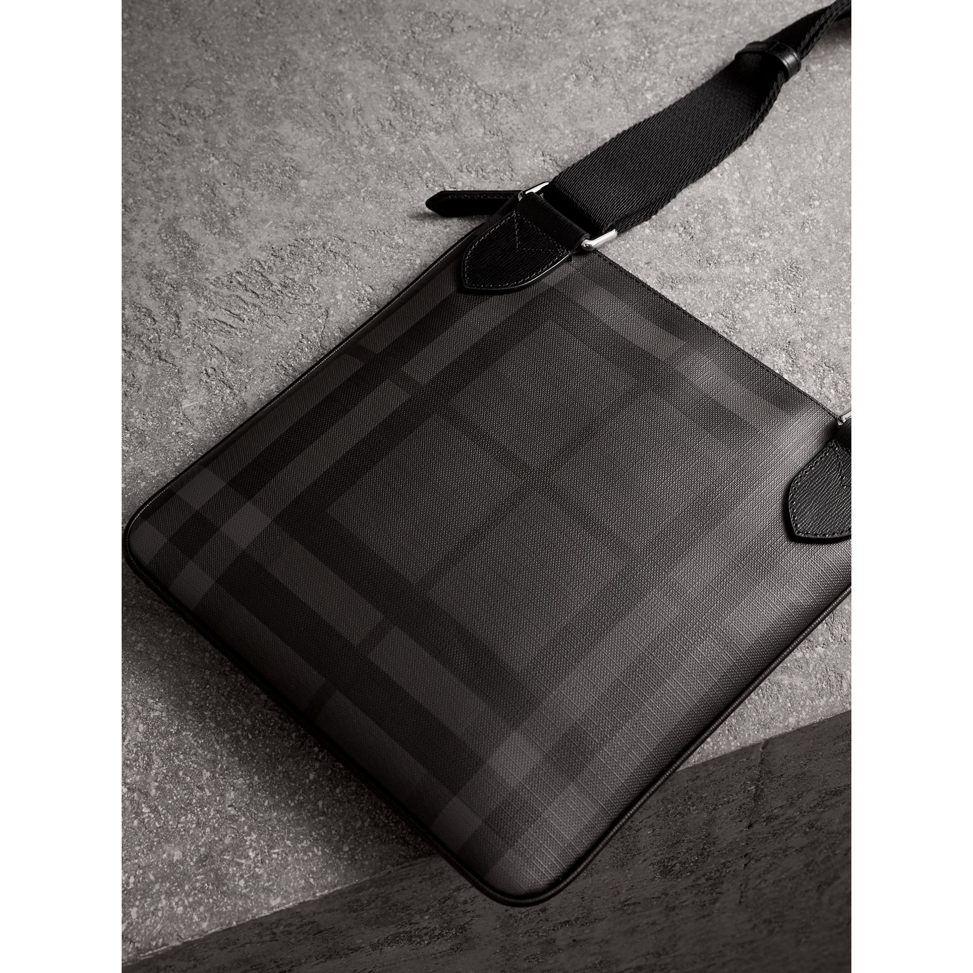 Leather Trim London Check Crossbody Bag in Charcoal/black - Men | Burberry United Kingdom - gallery image 3