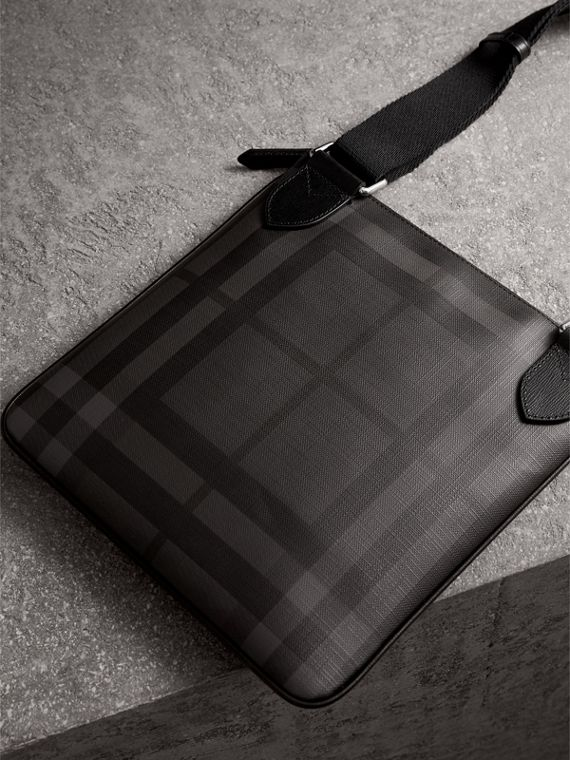 Leather Trim London Check Crossbody Bag in Charcoal/black - Men | Burberry - cell image 2
