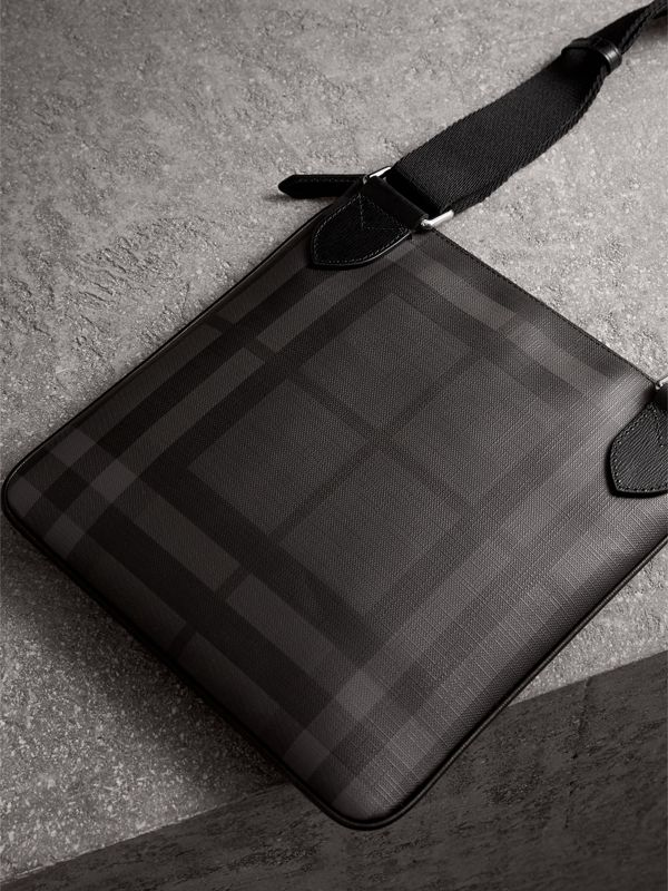 Leather Trim London Check Crossbody Bag in Charcoal/black - Men | Burberry United Kingdom - cell image 3
