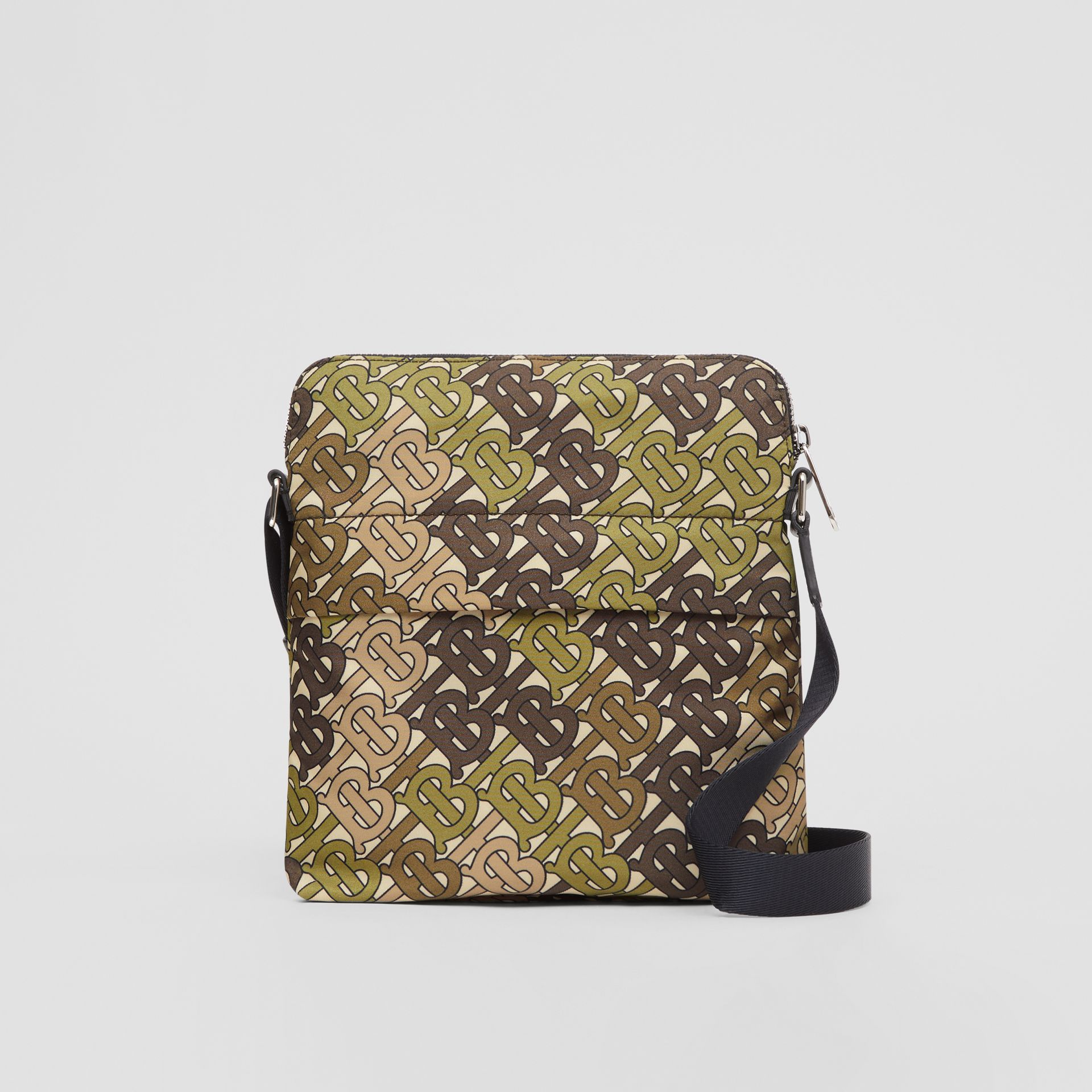 Monogram Print Nylon Crossbody Bag in Khaki Green - Men | Burberry Australia - gallery image 0