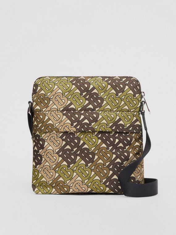 Monogram Print Nylon Crossbody Bag in Khaki Green