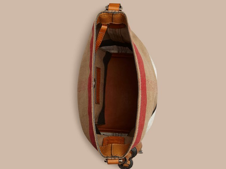Saddle brown The Small Ashby in Canvas Check and Leather Saddle Brown - cell image 4