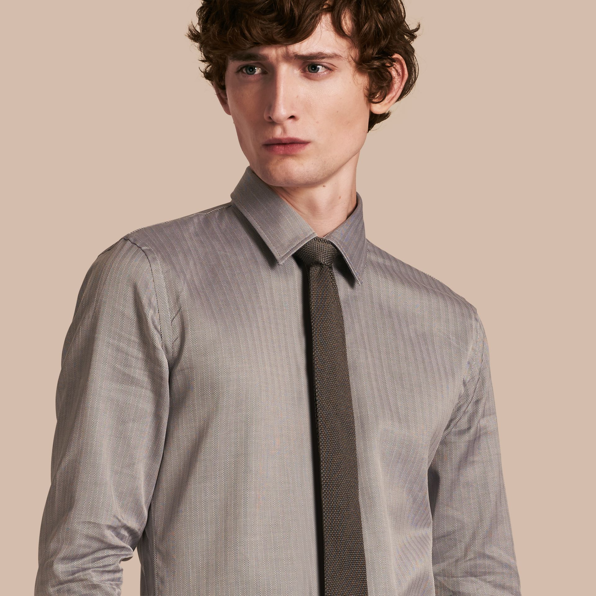 Black Slim Fit Herringbone Cotton Shirt Black - gallery image 1