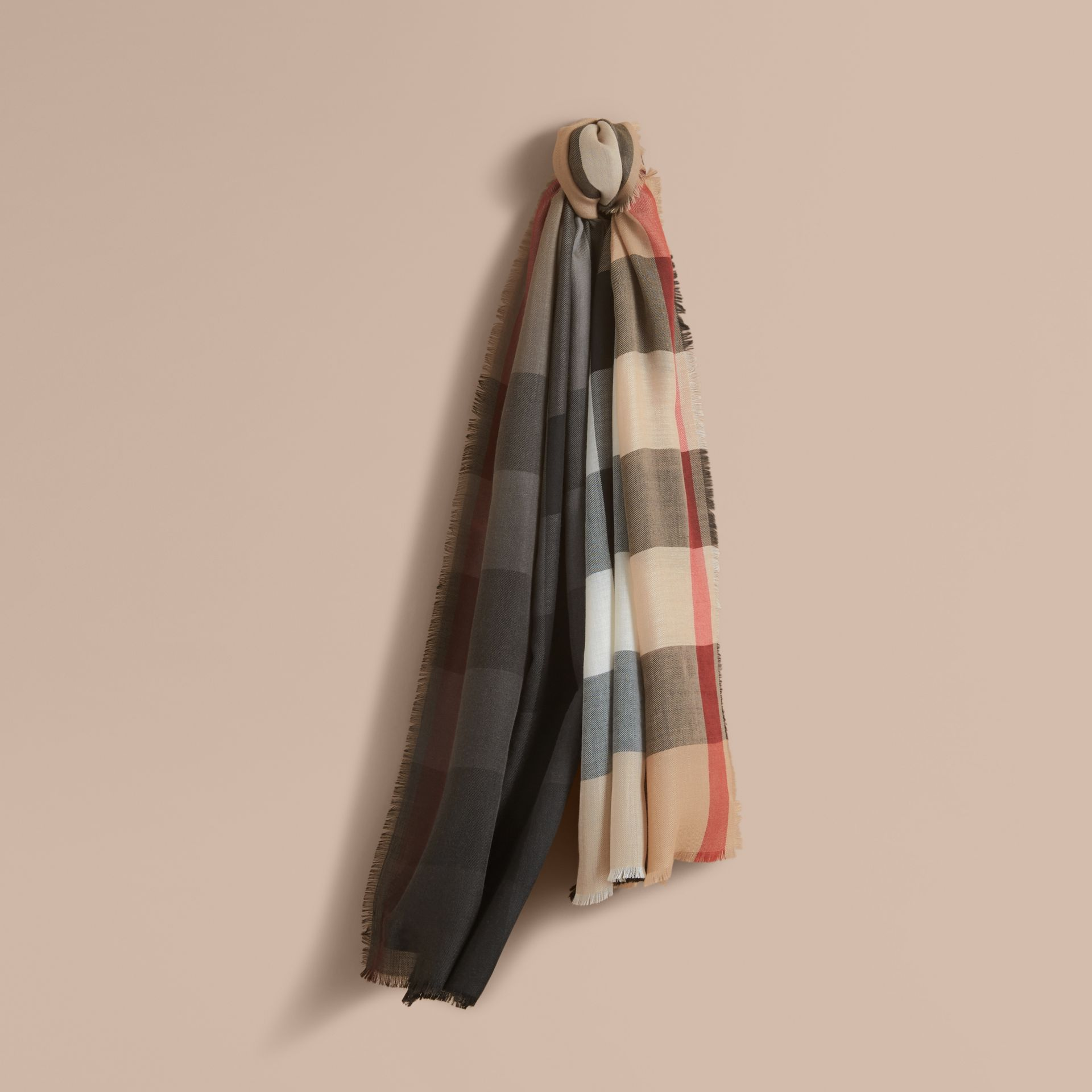 The Lightweight Cashmere Scarf in Ombré Check Camel/black - gallery image 1