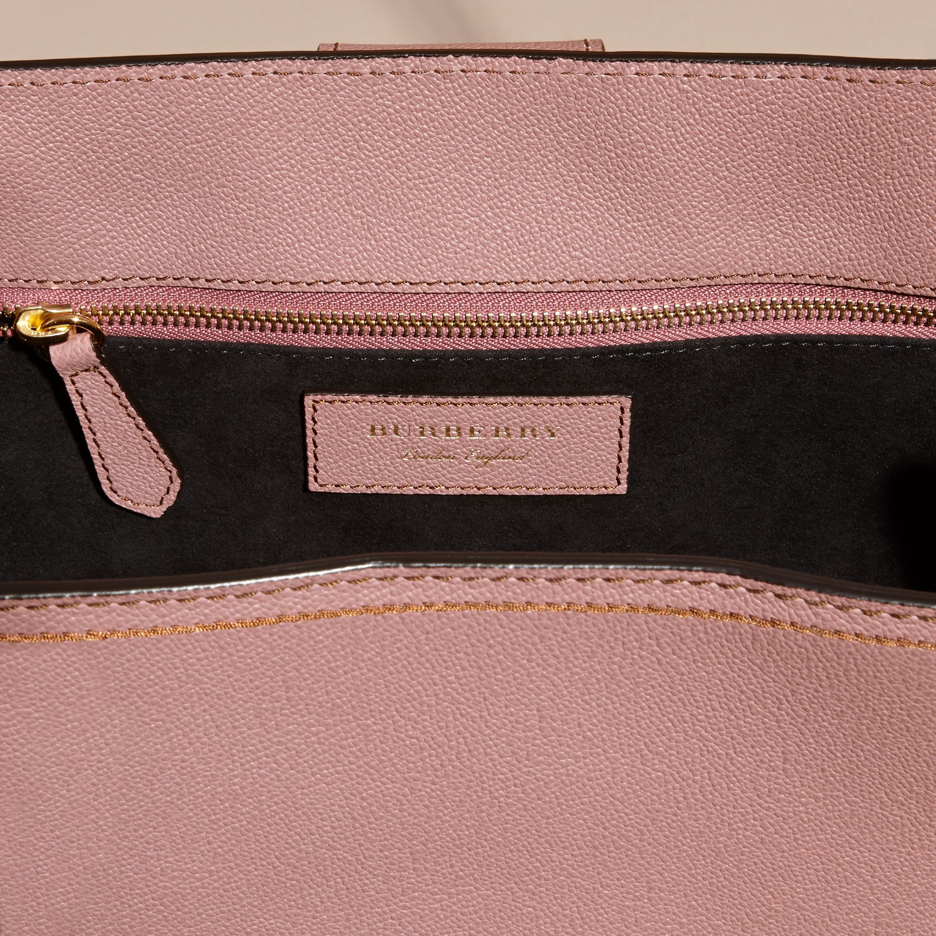 Dusty pink The Medium Buckle Tote in Grainy Leather and Python - gallery image 6