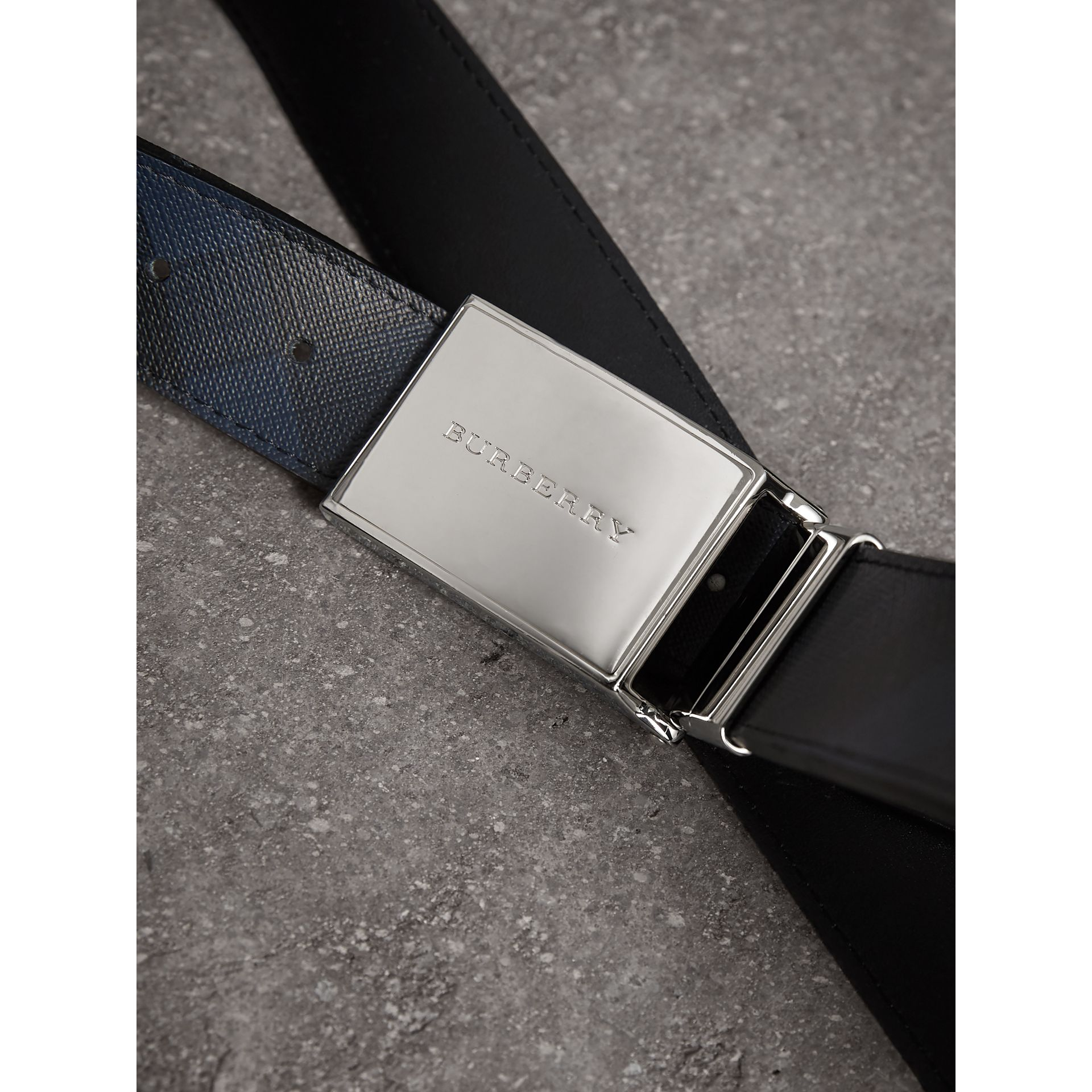 Reversible London Check and Leather Belt in Navy/black - Men | Burberry Australia - gallery image 2