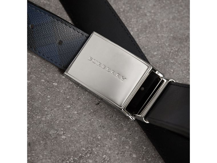 Reversible London Check and Leather Belt in Navy/black - Men | Burberry Australia - cell image 1