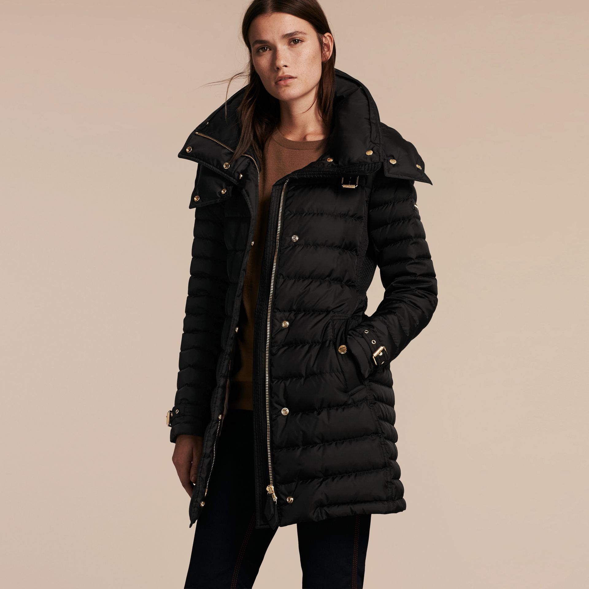 Down-filled Puffer Jacket with Packaway Hood in Black - Women | Burberry - gallery image 7