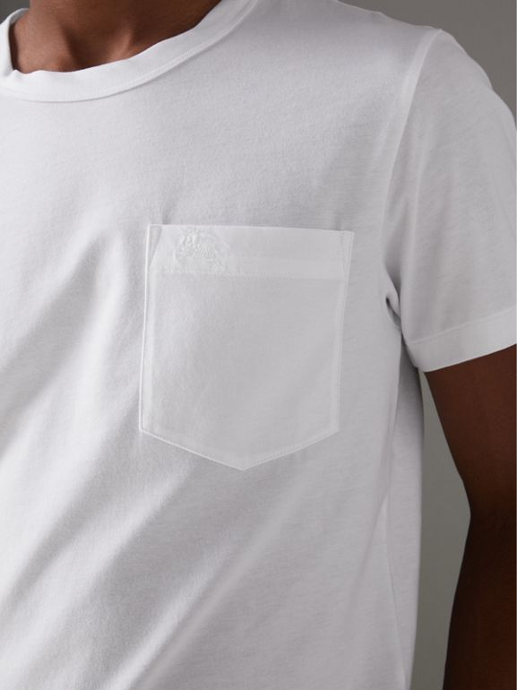 Pocket Detail Cotton Jersey T-shirt in White - Men | Burberry Canada - cell image 1