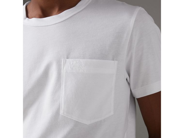 Pocket Detail Cotton Jersey T-shirt in White - Men | Burberry - cell image 1