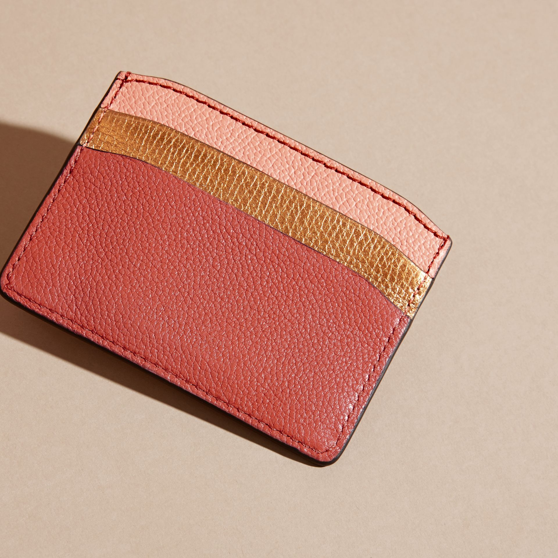 Colour Block Leather Card Case in Copper Pink - gallery image 4