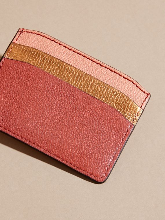 Colour Block Leather Card Case in Copper Pink - cell image 3