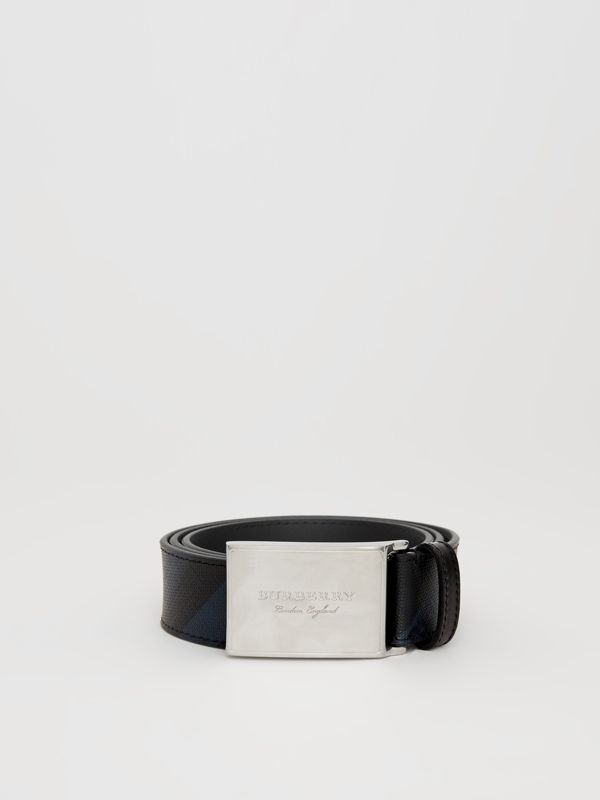 Plaque Buckle London Check and Leather Belt in Navy/black - Men | Burberry Hong Kong - cell image 3