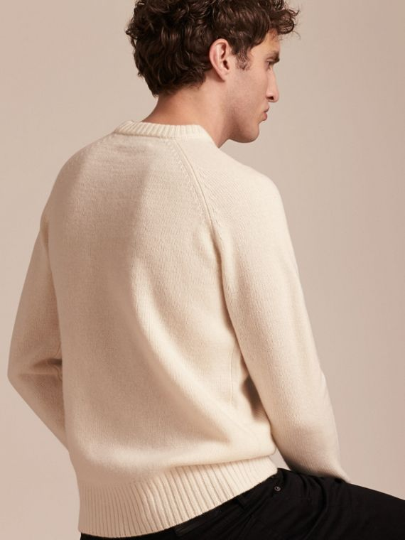 Natural white Embroidered Crest Wool Sweater - cell image 2