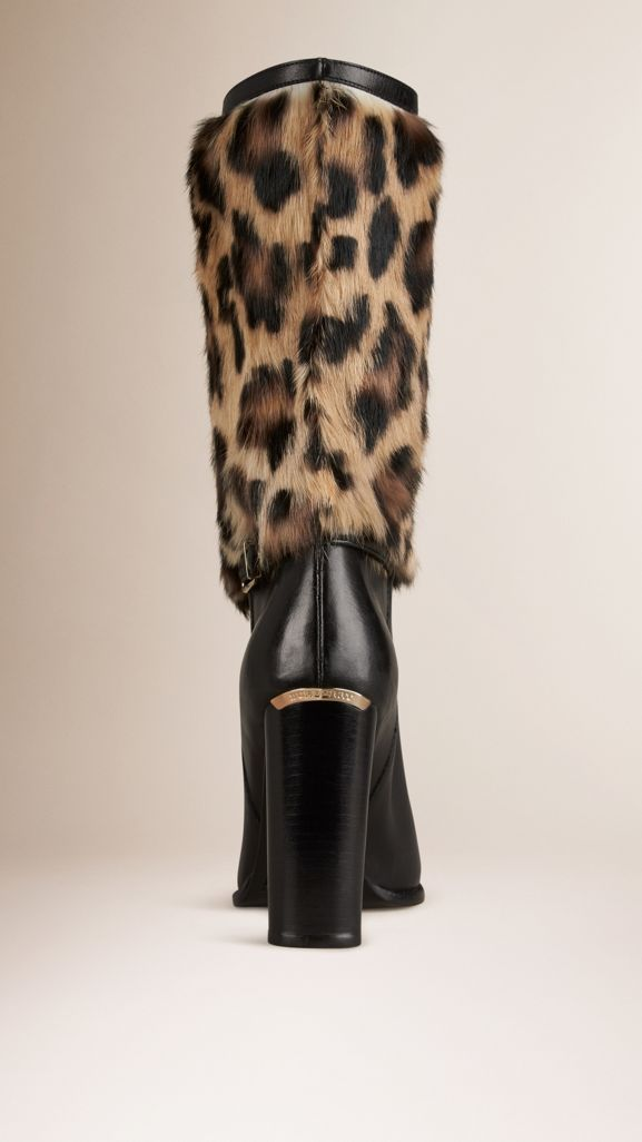 Animal Print Rabbit Fur and Leather Boots in Black - Women | Burberry United States - cell image 1