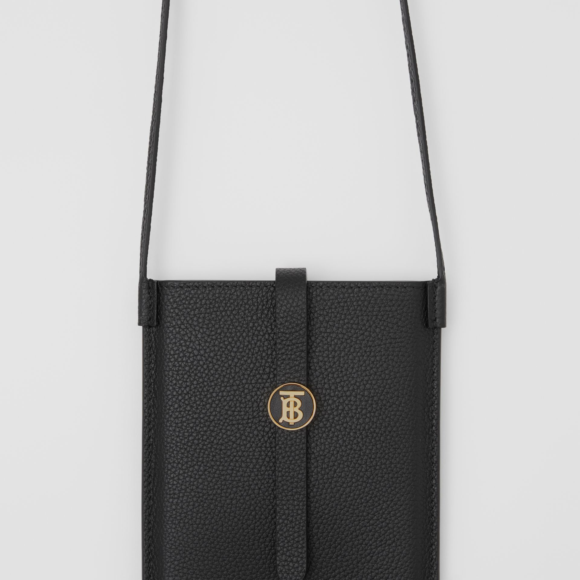 Grainy Leather Phone Case with Strap in Black | Burberry - gallery image 1
