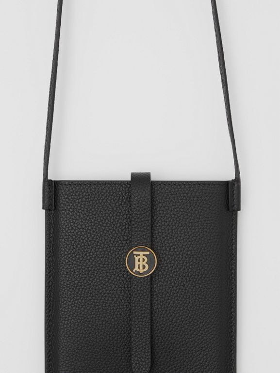 Grainy Leather Phone Case with Strap in Black | Burberry - cell image 1