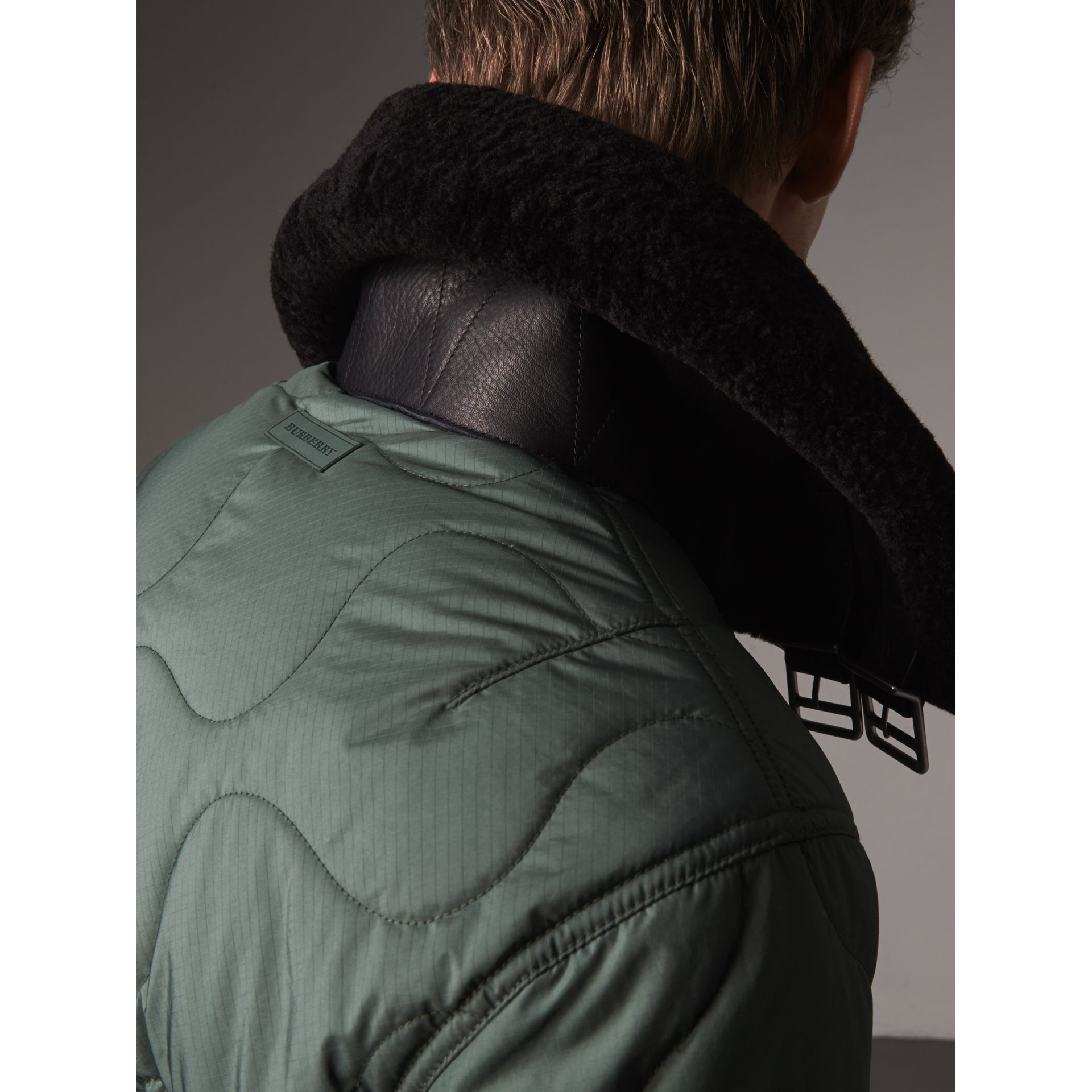 Shearling Collar Quilted Bomber Jacket in Smokey Green - Men | Burberry United States - gallery image 1
