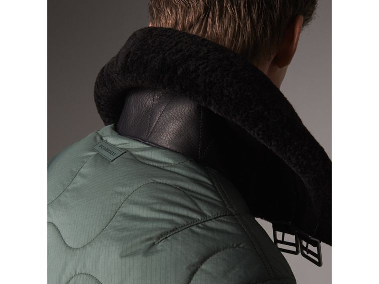 Shearling Collar Quilted Bomber Jacket in Smokey Green - Men | Burberry United States - cell image 1