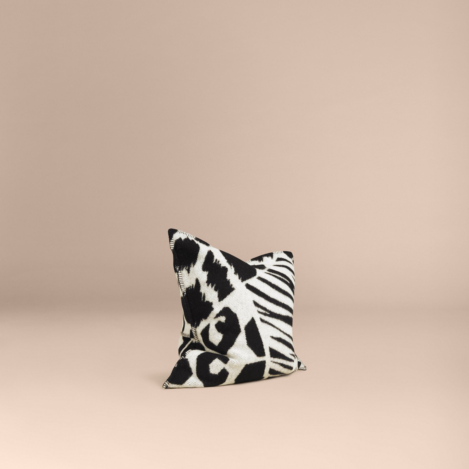 Black/white Animal Print Wool Cashmere Cushion Cover - gallery image 1