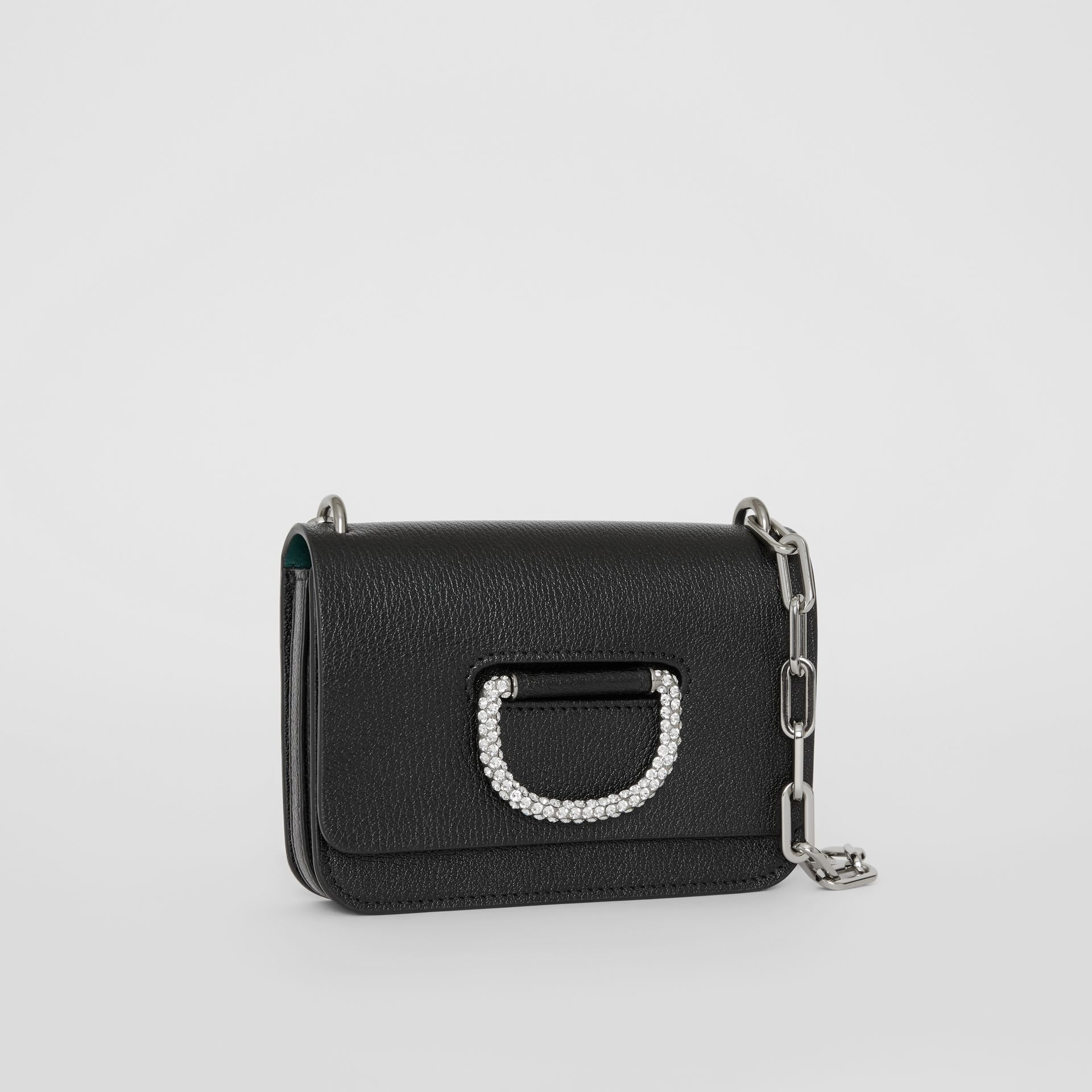 The Mini Leather Crystal D-ring Bag in Black - Women | Burberry - gallery image 7