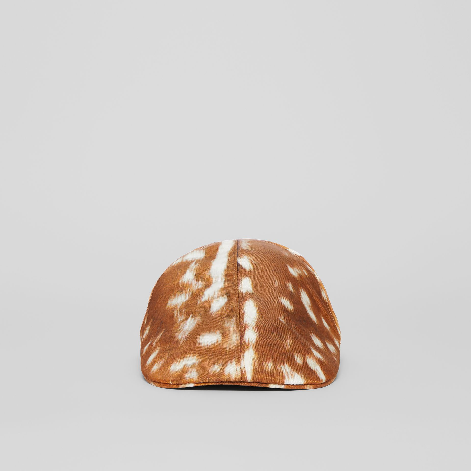Deer Print Nylon Flat Cap in Tan | Burberry Singapore - gallery image 4