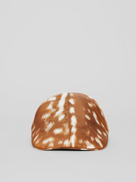 Deer Print Nylon Flat Cap in Tan