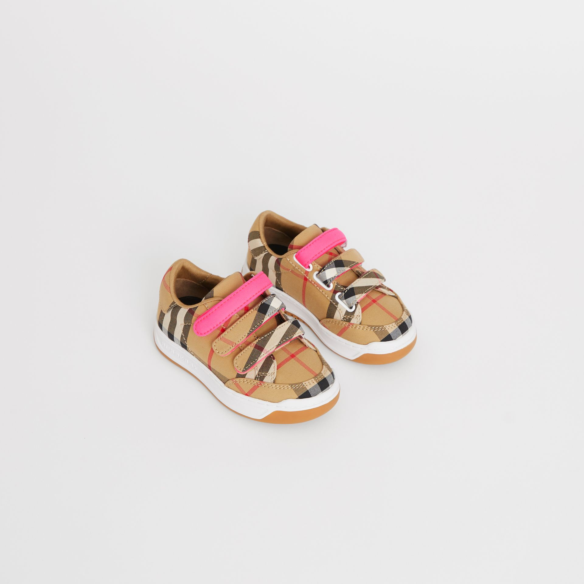 Vintage Check Sneakers in Antique Yellow/neon Pink - Children | Burberry - gallery image 0
