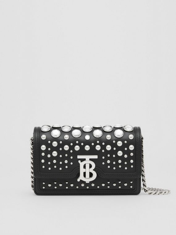 Mini Embellished Leather Shoulder Bag in Black