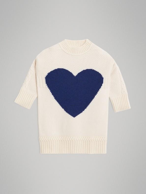 하트 인타르시아 울 캐시미어 스웨터 드레스 (아이보리)
